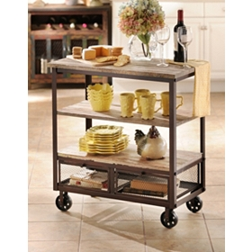 Rustic 3-Shelf Rolling Kitchen Cart