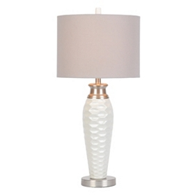 White Pitted Ceramic Table Lamp