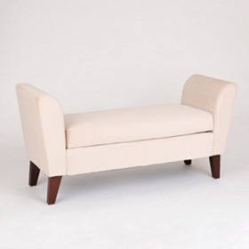 Bella Eggshell Upholstered Storage Bench