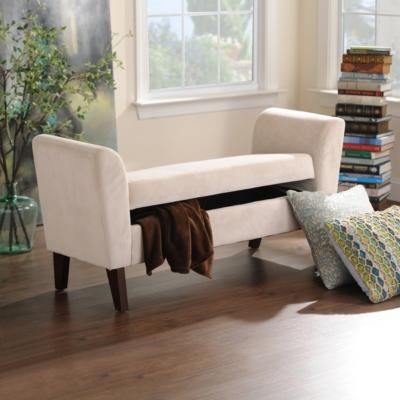 Bella Buckwheat Upholstered Storage Bench