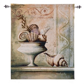 Shells & Vase Tapestry with Rod