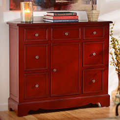 Distressed Red 7-Drawer Chest