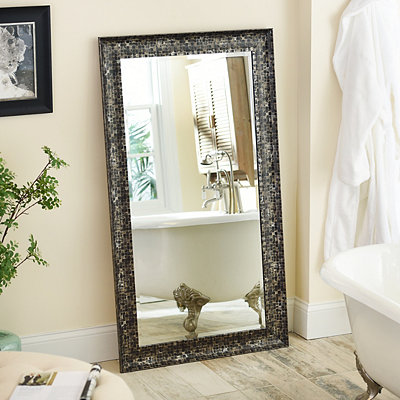 Black Mosaic Framed Mirror, 32x56 in.