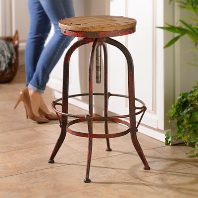 Industrial Red Bar Stool