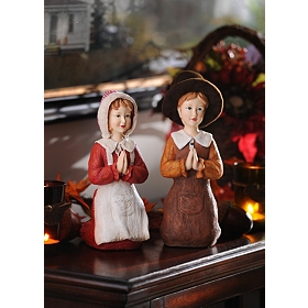Praying Pilgrim Statues, Set of 2