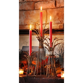 Wheat Bushel Taper Candle Holder, Set of 3