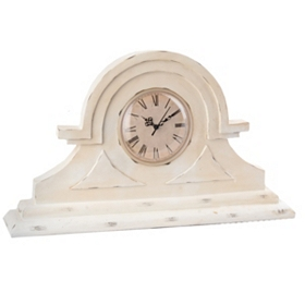 Distressed Cream Mantle Clock