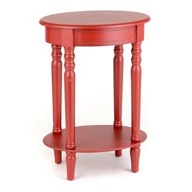 Red Oval Accent Table