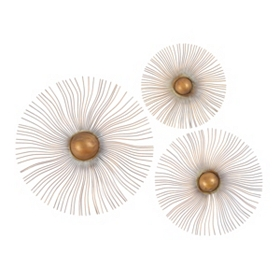 Sunburst Wall Medallion, Set of 3
