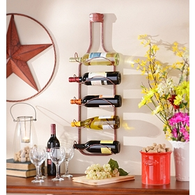 Lerwich Red Metal Hanging Wine Rack