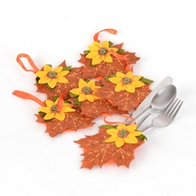 Harvest Leaf Silverware Holder, Set of 6