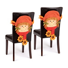 Scarecrow Girl Chair Cover, Set of 2