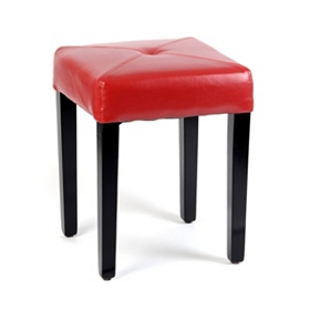 Red Leather Vanity Stool