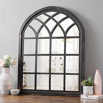 Ava Black Arch Wall Mirror, 35x46