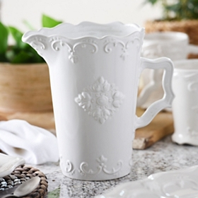 White Sweet Olive Ceramic Pitcher