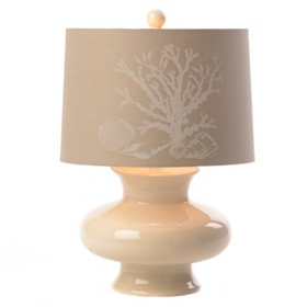 Cream Ceramic Coral Table Lamp