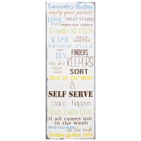 Laundry Rules Canvas Wall Plaque