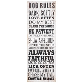 Dog Rules Canvas Wall Plaque