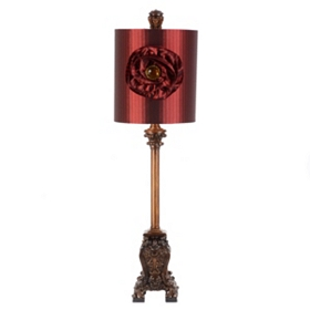 Sisley Red Buffet Lamp with Flower