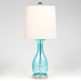 Blue Glass Teardrop Table Lamp