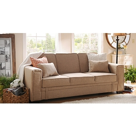 Francis Serta Light Brown Convertible Sofa