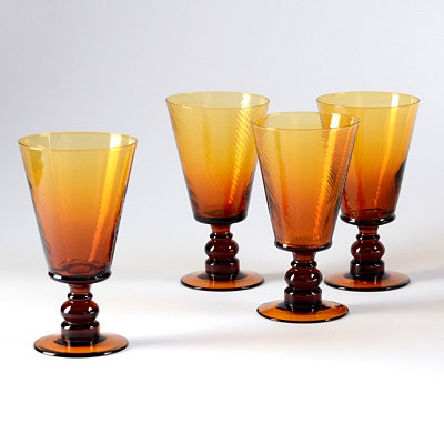 Amber Milano Goblet, Set of 4