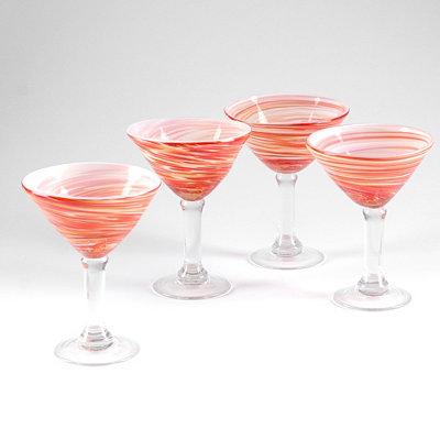 Twirlin' Red Martini Glass, Set of 4