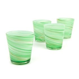 Twirlin' Green Rocks Glass, Set of 4