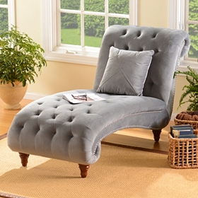Tufted Velvet Chaise Lounger