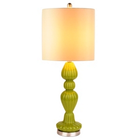 Green Fluted Glass Table Lamp