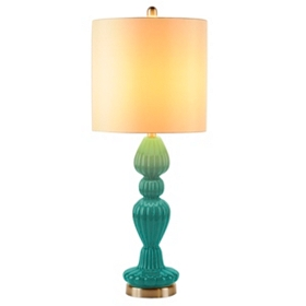 Turquoise Fluted Glass Table Lamp