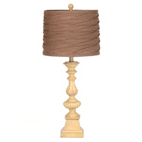 Pleated Burlap Table Lamp