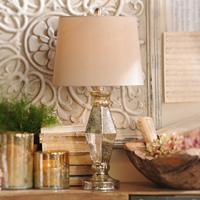 Diamond Mercury Glass Table Lamp