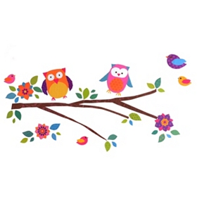 Glitter Puff Owls Wall Decal