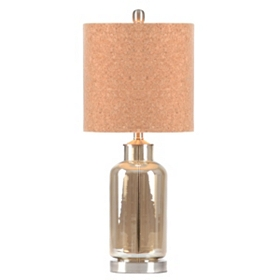 Glass Table Lamp With Cork Shade