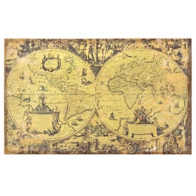 World Map Linen Canvas Art Print
