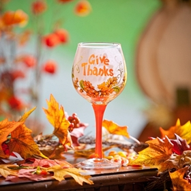 Give Thanks Wine Glass
