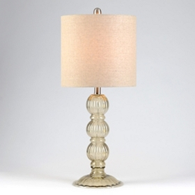 Clear Gray Fluted Table Lamp