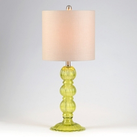 Clear Green Fluted Table Lamp