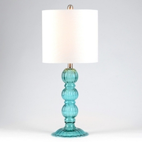 Clear Blue Fluted Table Lamp