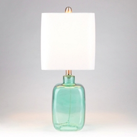 Turquoise Oasis Square Glass Table Lamp