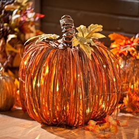 Pre-Lit Natural Rattan Pumpkin, 15 in.