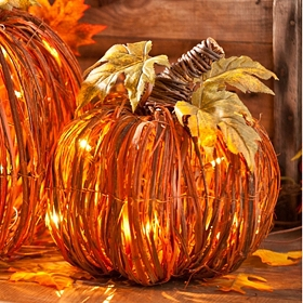 Pre-Lit Orange Rattan Pumpkin, 12 in.