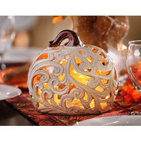 Cut-out Pumpkin Candle Holder