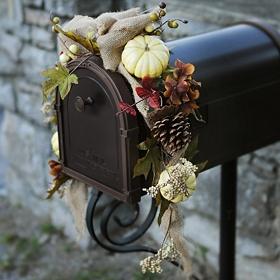 Burlap & Pumpkin Mailbox Swag
