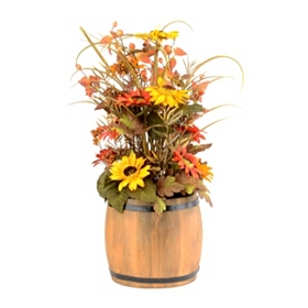 Barrel of Sunflowers Arrangement