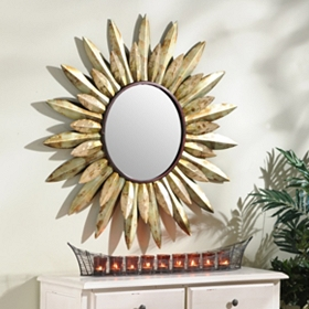 Sunburst Flower Wall Mirror, 38 in.