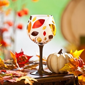 Autumn Leaves Frosted Wine Glass