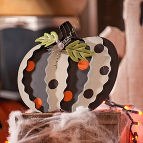 Polka Dotted Pumpkin Easel, 12 in.