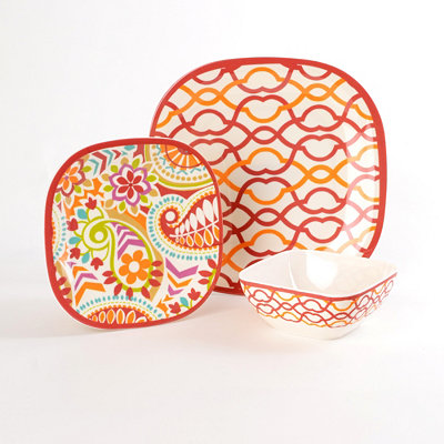 Waves Sorbet 12-pc. Melamine Dinner Set